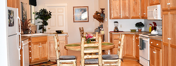 Enjoy our large full size kitchen available with stove and microwave