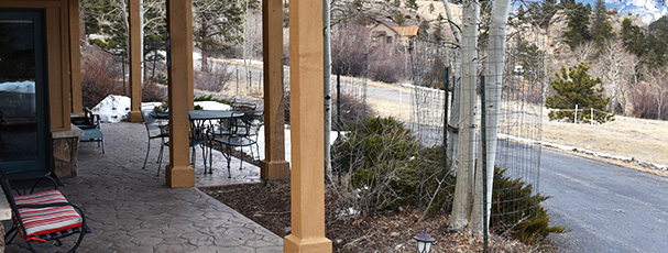 Our private patio is great to sit out and enjoy wildlife or view or Marys Lake