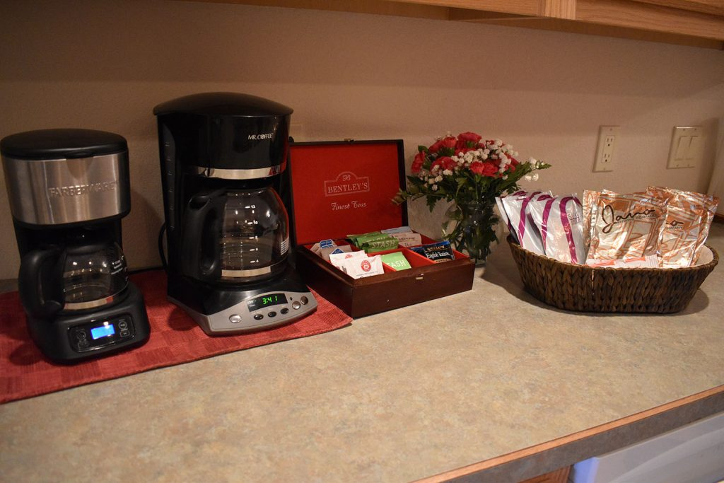Coffee and Tea selections available on kitchen counter