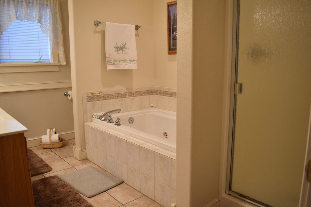 Soaking bathtub with jets and separate shower available