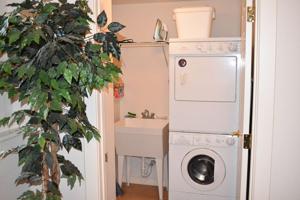 Our own private washer and dryer with utility sink available