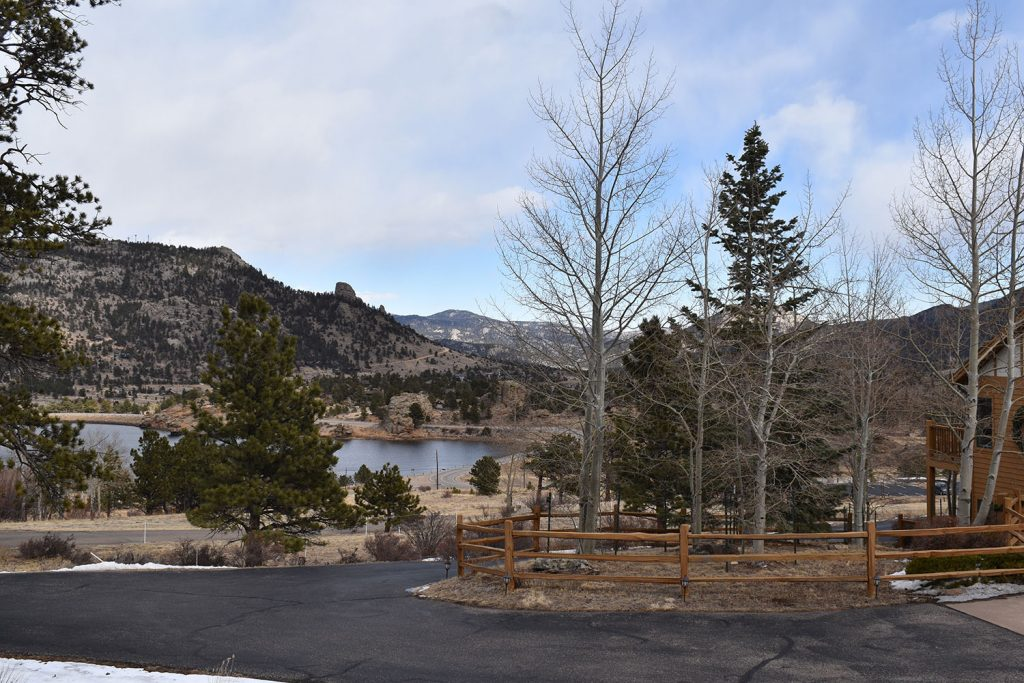Outside entry view of our beautiful home located in Estes Park, Colorado