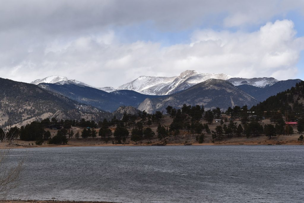 View of Marys Lake with Rocky Mountain National Park Mountain view behind