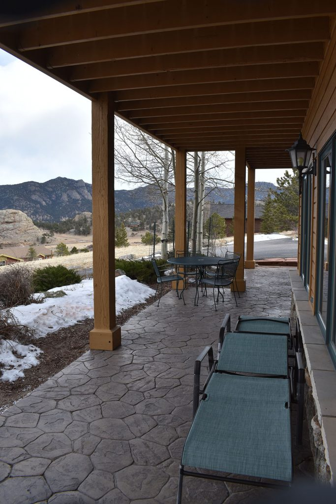 Outside view with your own private seating area overlooking Marys Lake