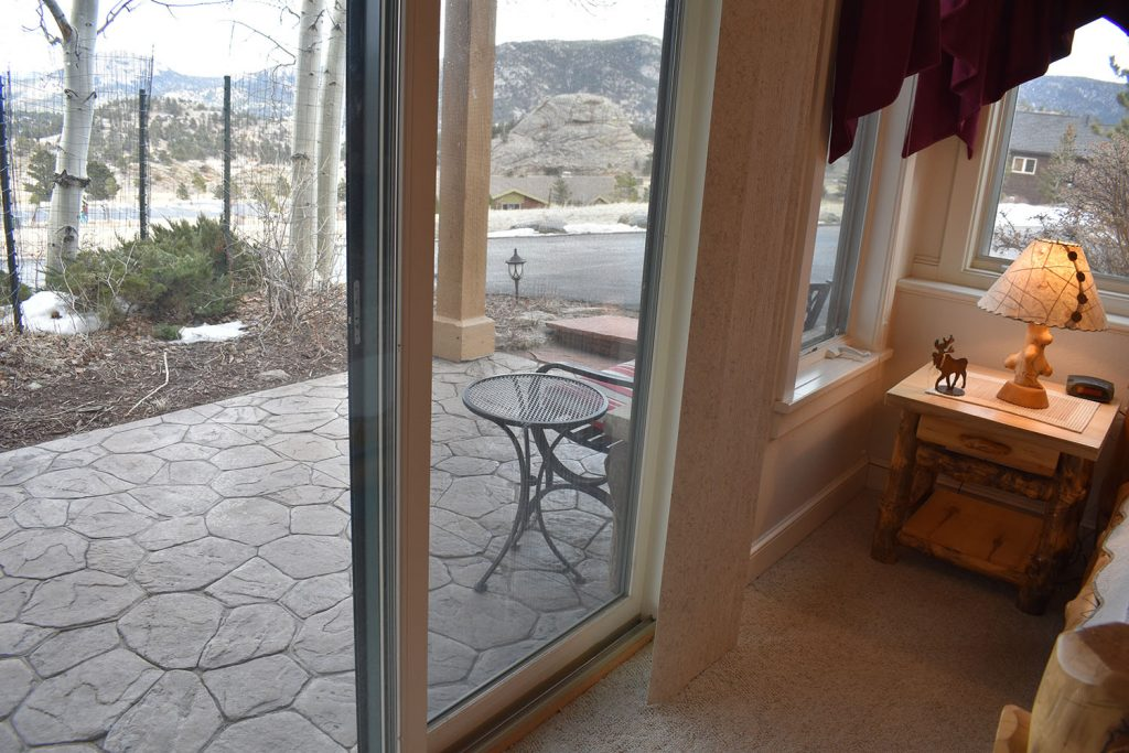 View from inside master bedroom with your private entry and view of Marys Lake