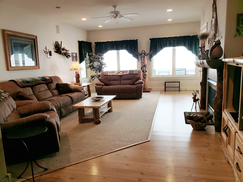 Our family room great for gatherings with TV and Fireplace with lots of seating